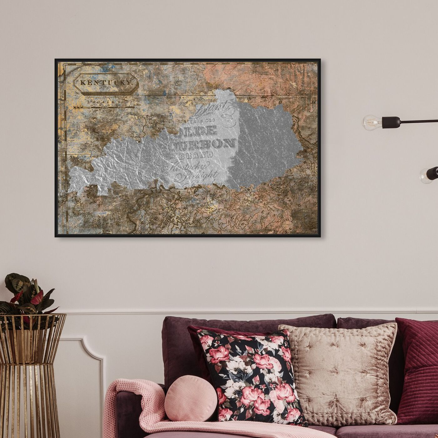 Hanging view of Olde Kentucky featuring maps and flags and us states maps art.