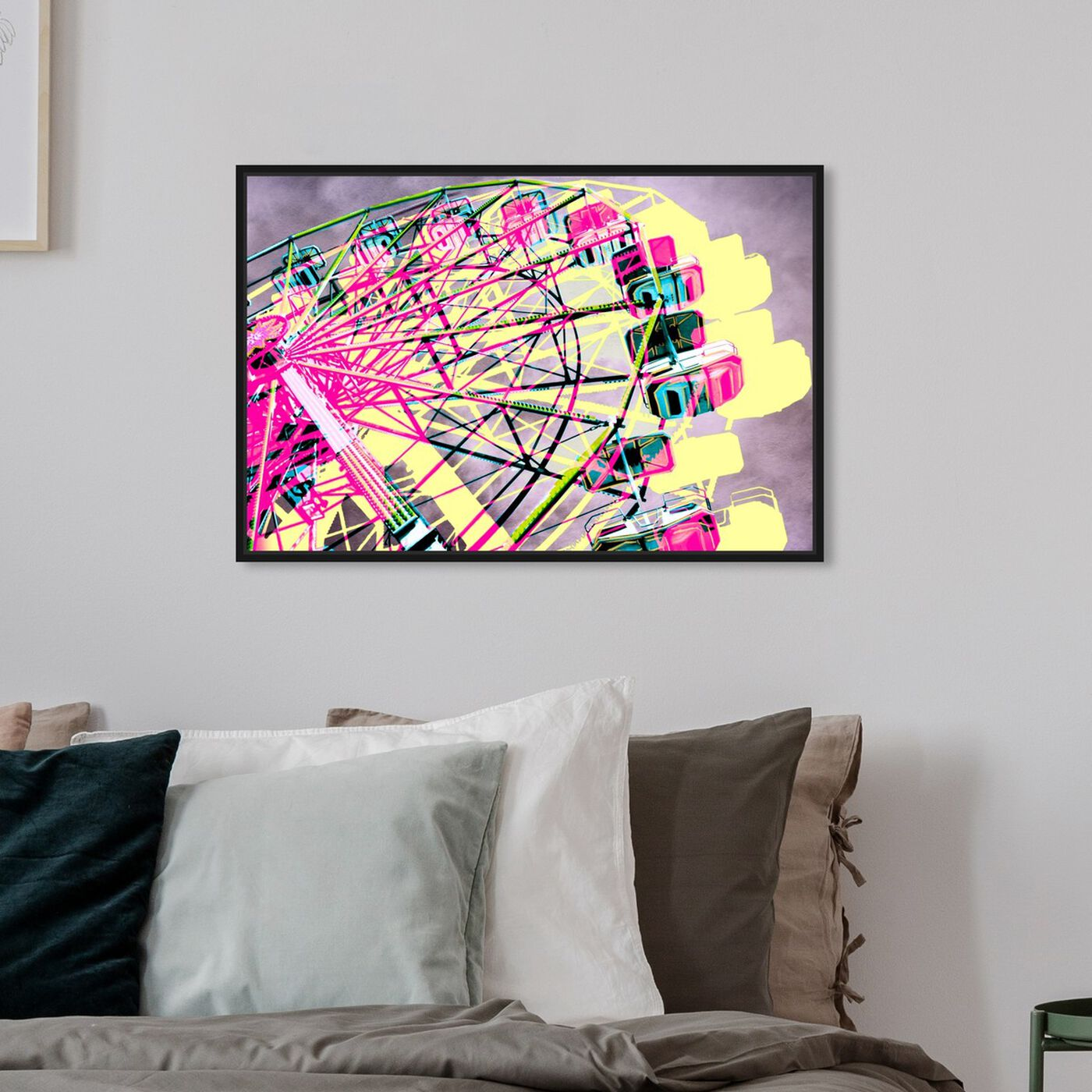 Hanging view of Ferris Wheel featuring entertainment and hobbies and fairs art.