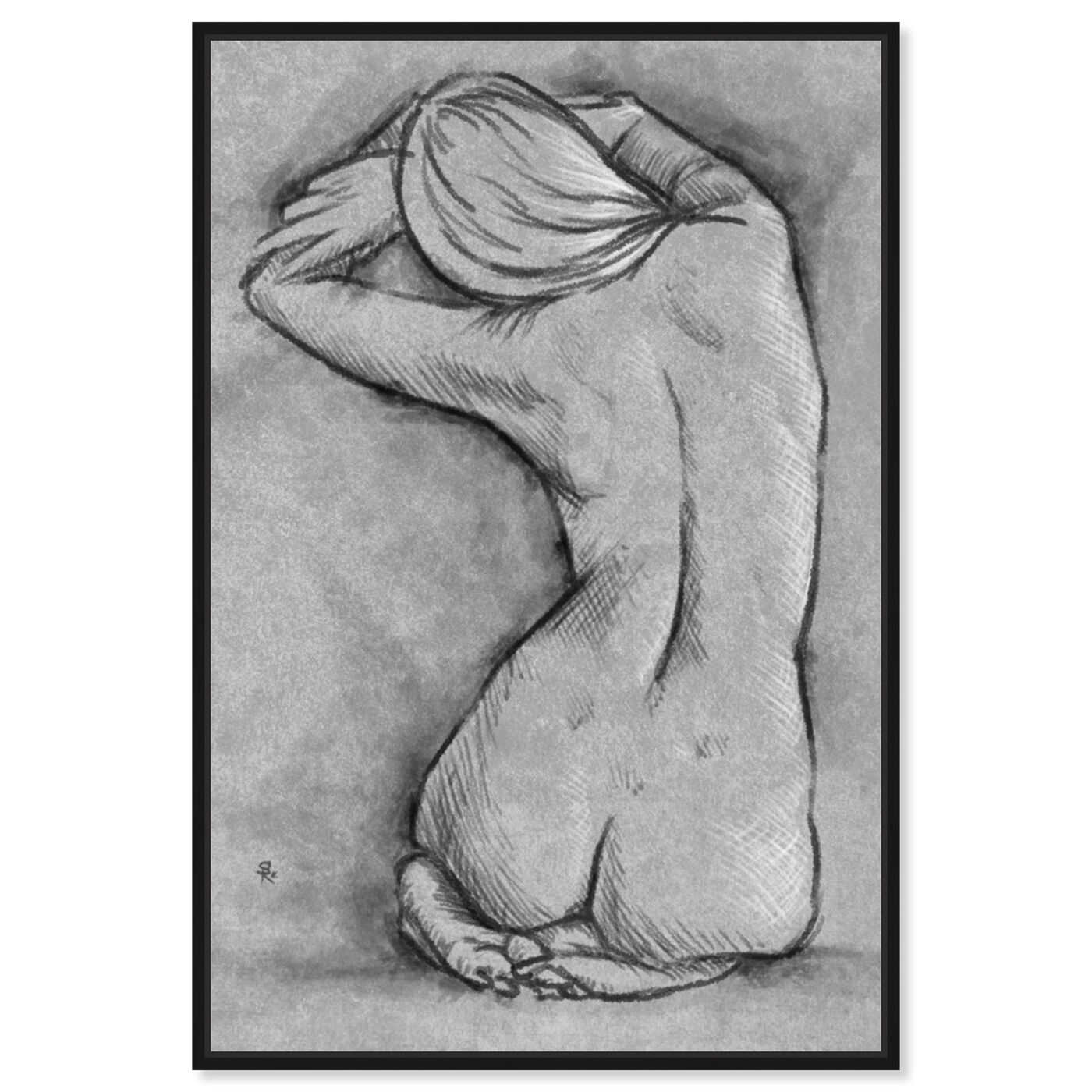 Front view of Nude In Gray featuring people and portraits and nudes art.