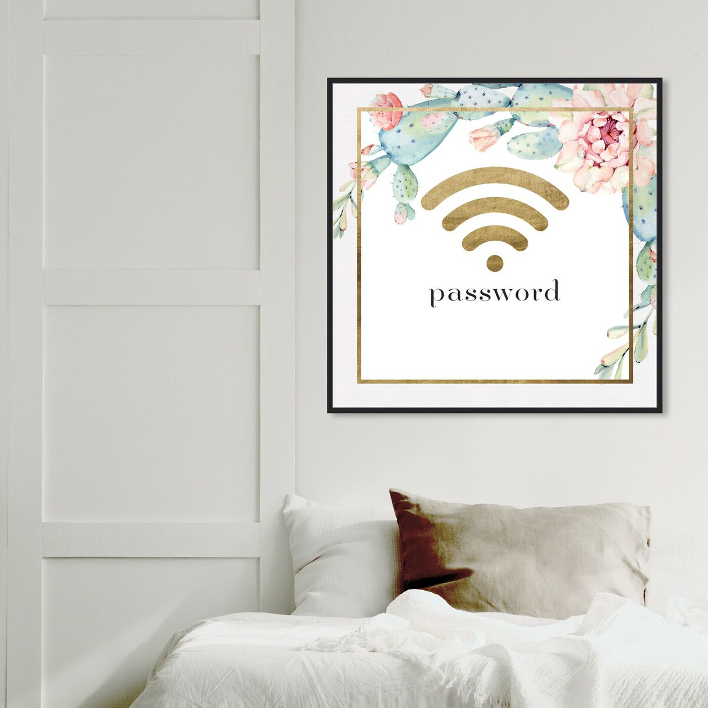 Hanging view of Succulent Gold Wifi featuring typography and quotes and family quotes and sayings art.