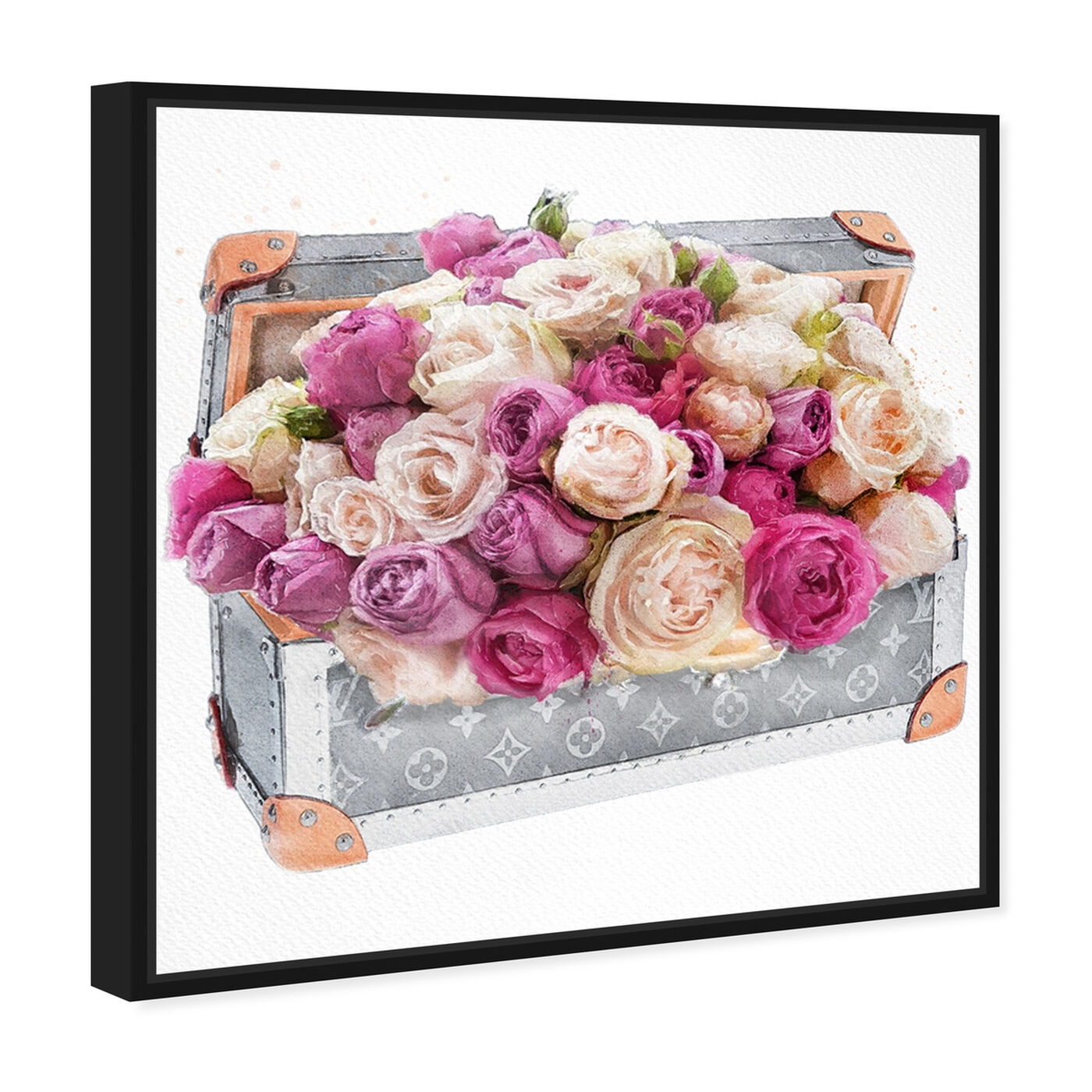 Angled view of Rose Dreaming Trunk featuring floral and botanical and florals art.
