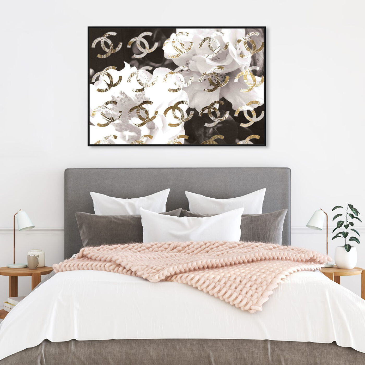 Hanging view of Original Gold Camellia Distressed featuring floral and botanical and florals art.