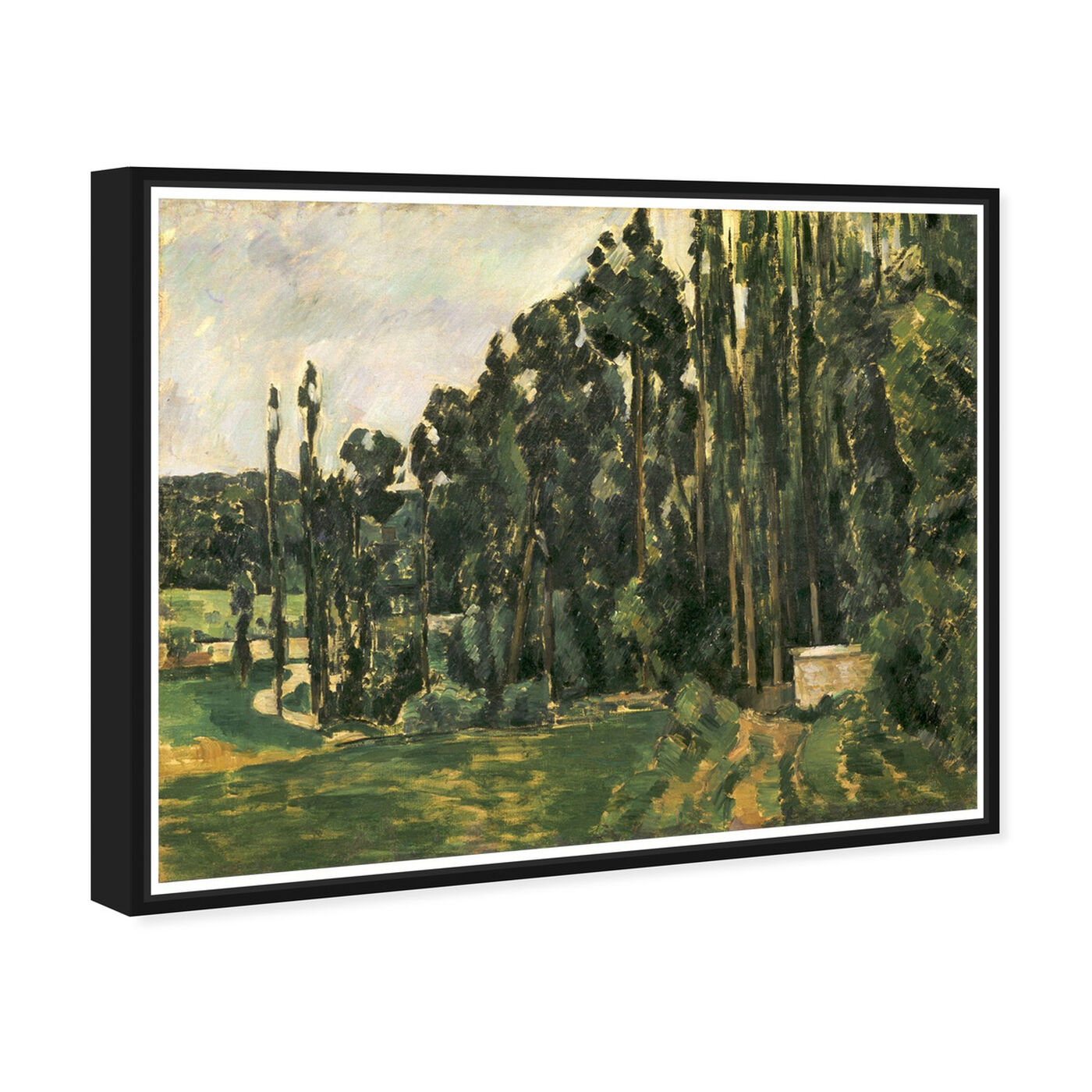Angled view of Paul Cezanne - Poplars featuring nature and landscape and forest landscapes art.