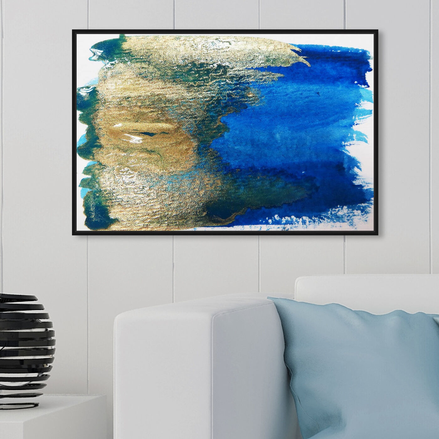Hanging view of Impero featuring abstract and watercolor art.