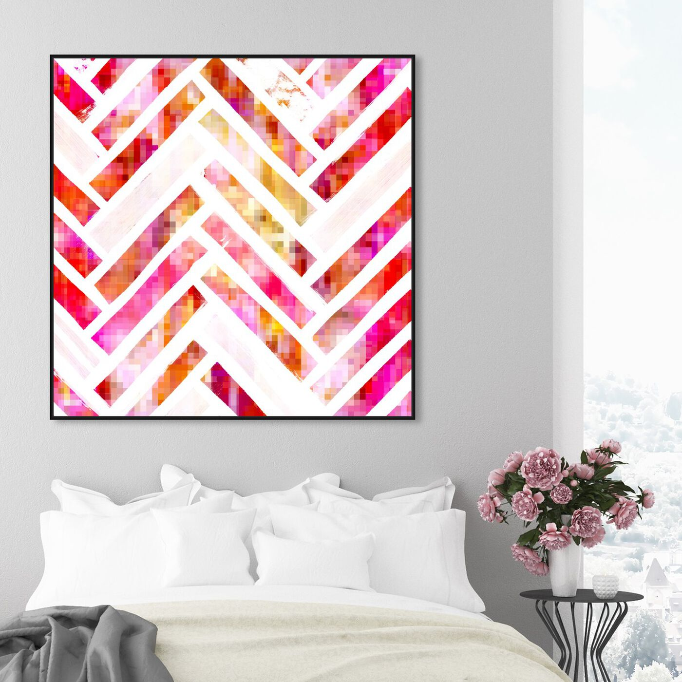 Hanging view of Sugar Flake Herringbone featuring abstract and patterns art.