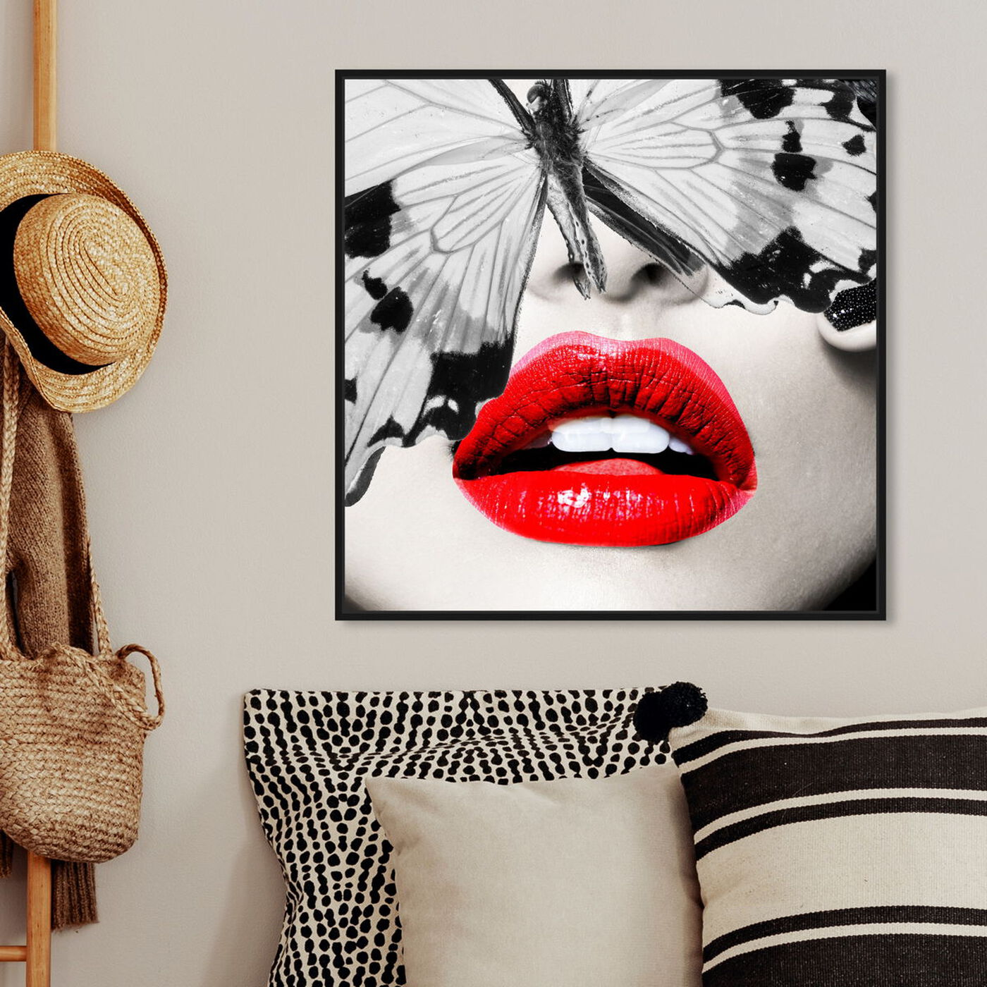 Hanging view of Butterfly Lips featuring fashion and glam and lips art.