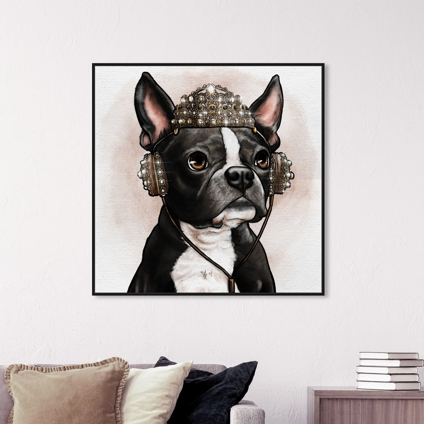 Hanging view of Crowned Terrier featuring animals and dogs and puppies art.