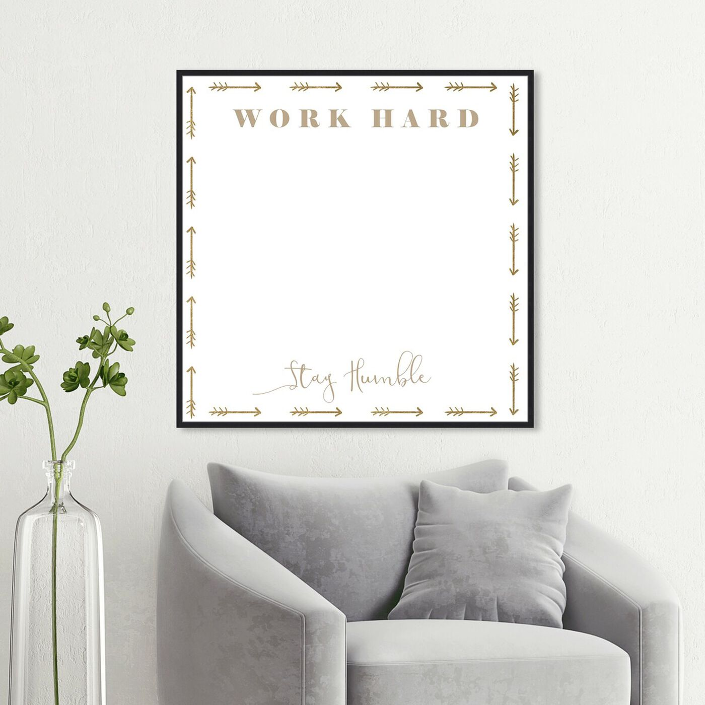Hanging view of Work Hard Stay Humble featuring education and office and whiteboards art.