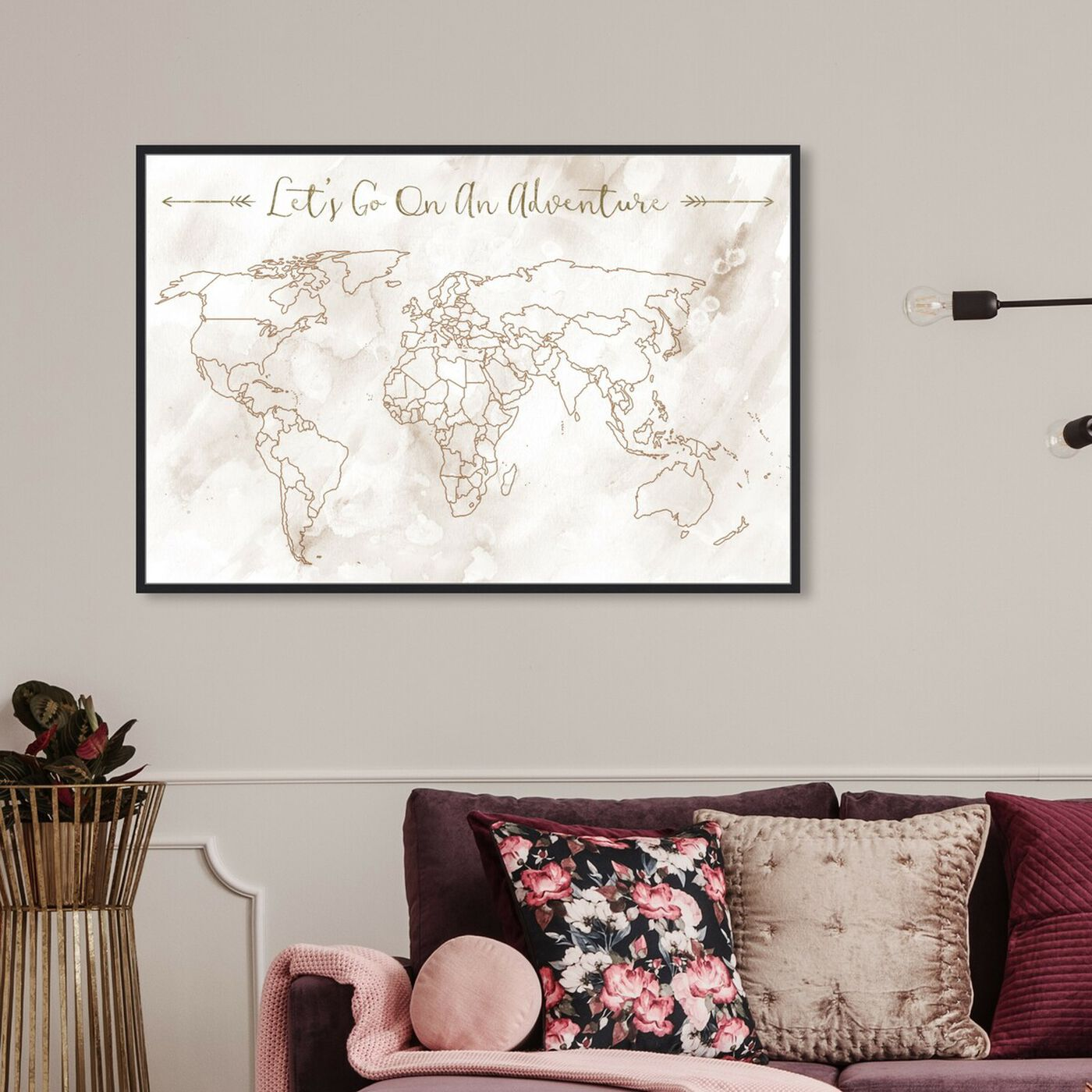 Hanging view of Lets Go On An Adventure featuring typography and quotes and motivational quotes and sayings art.