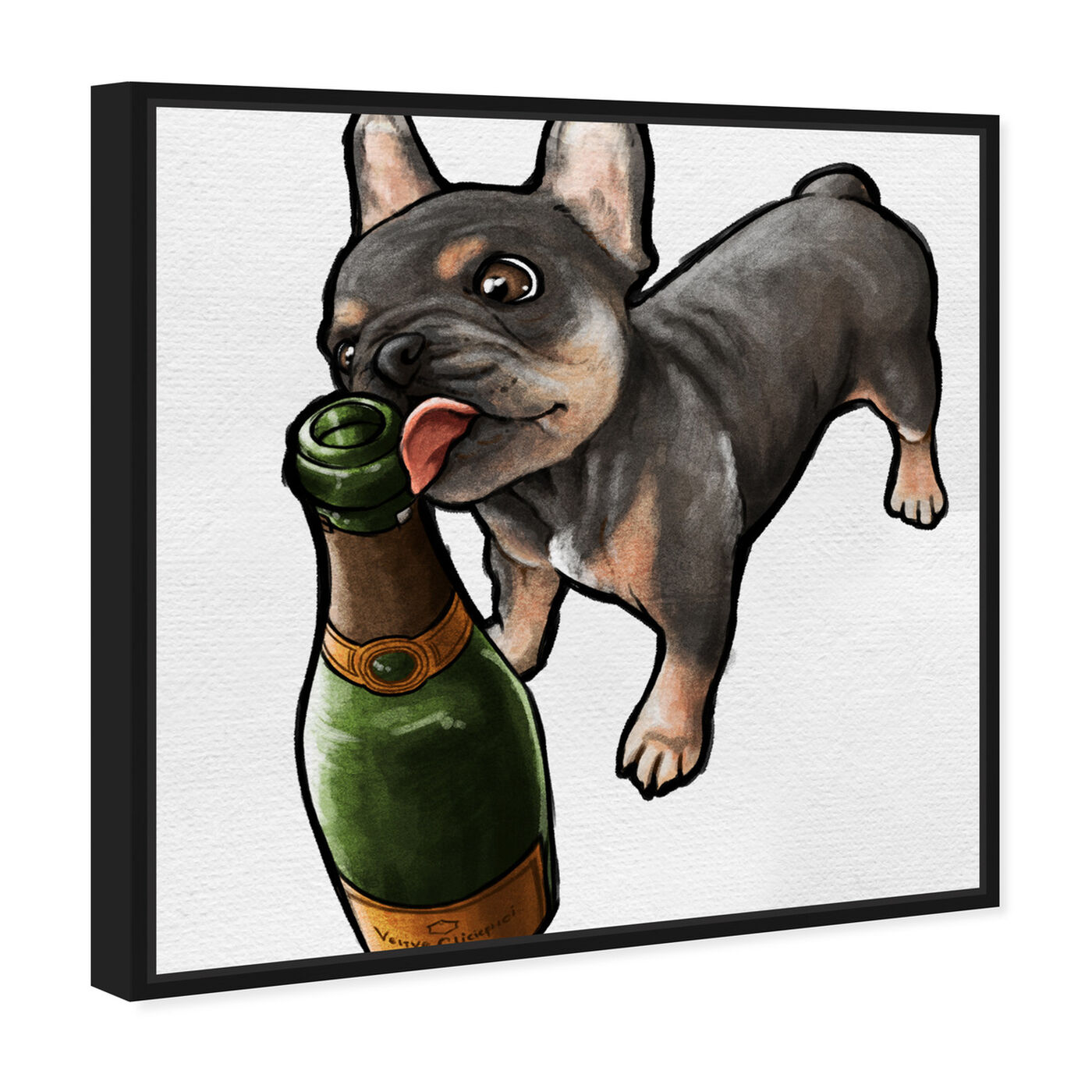 Angled view of Frenchie and Bubbly Custom featuring animals and dogs and puppies art.
