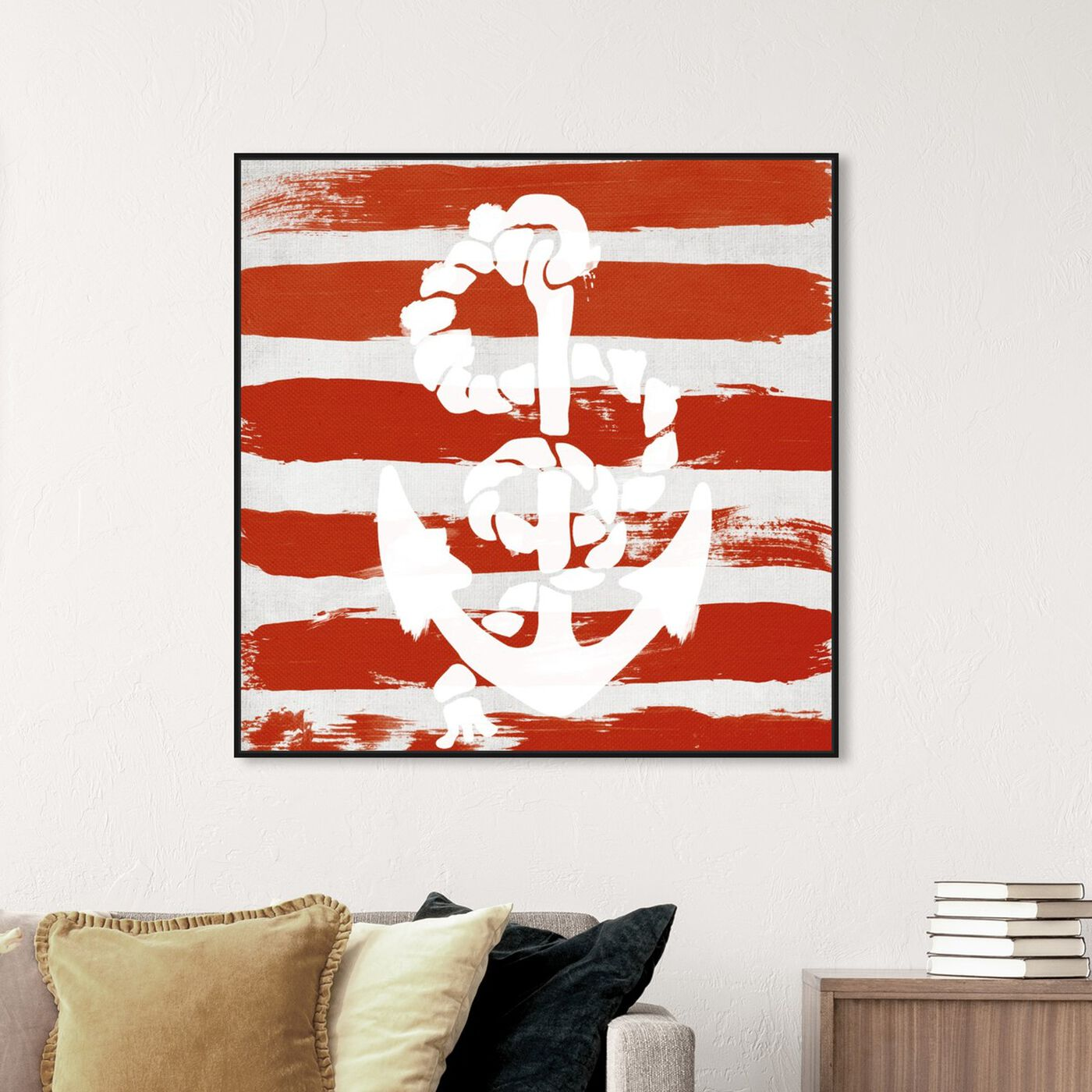Hanging view of Anchored to the Ocean featuring nautical and coastal and nautical watercrafts art.