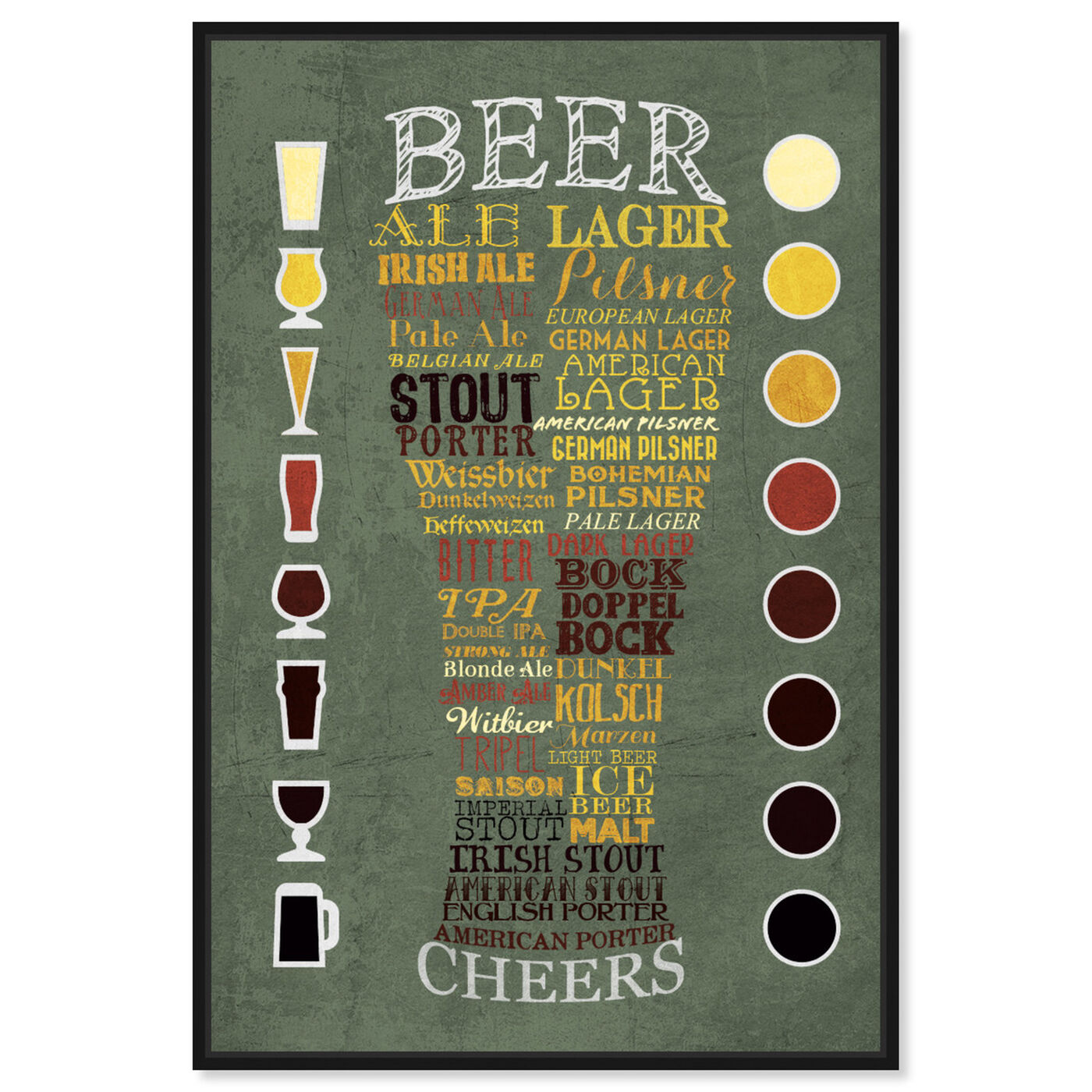 Front view of Beer Chart II featuring drinks and spirits and beer art.