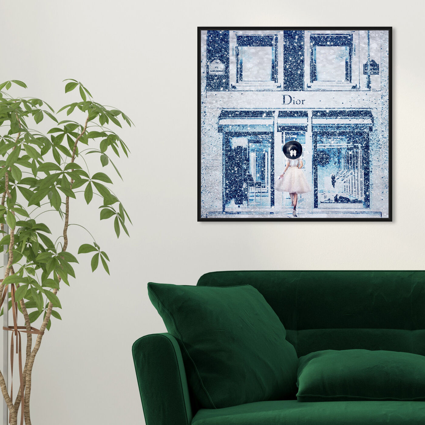 Hanging view of Queen of the Store Sapphire featuring fashion and glam and road signs art.