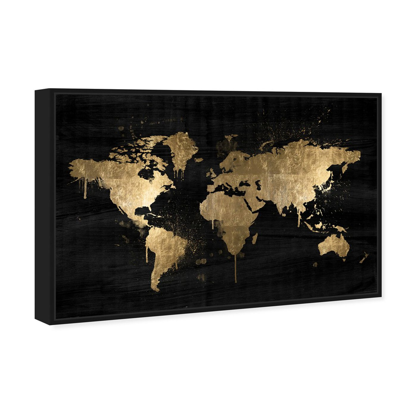 Angled view of Mapamundi Gold featuring maps and flags and world maps art.