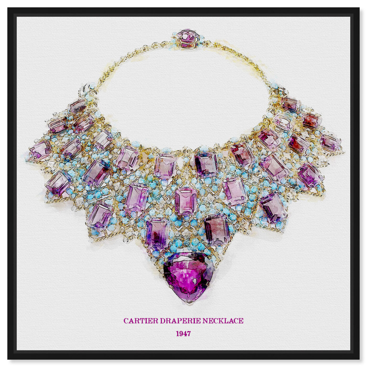 Front view of Draperie Necklace 1947 featuring fashion and glam and jewelry art.