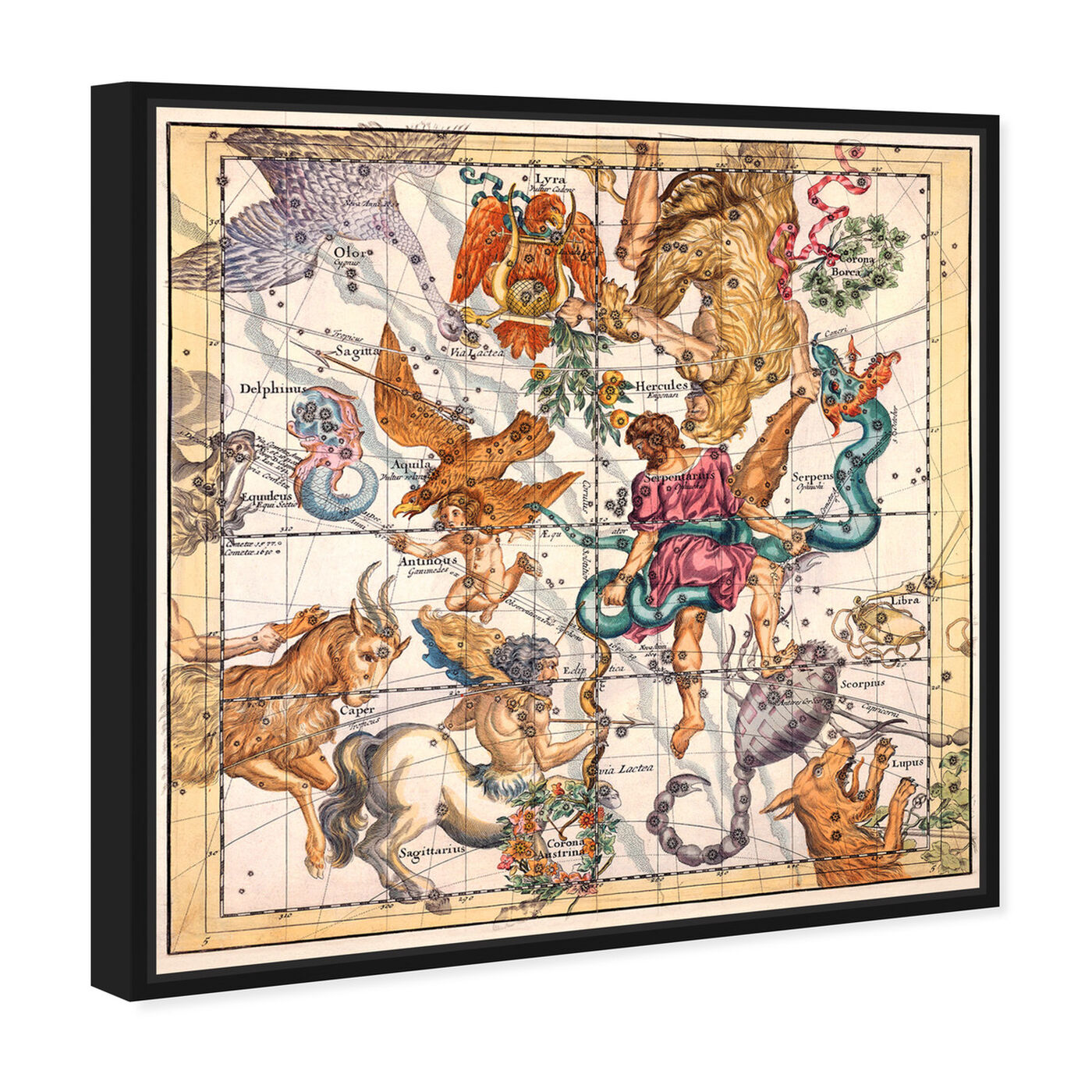 Angled view of Sagittarius and Scorpius featuring spiritual and religious and zodiac art.