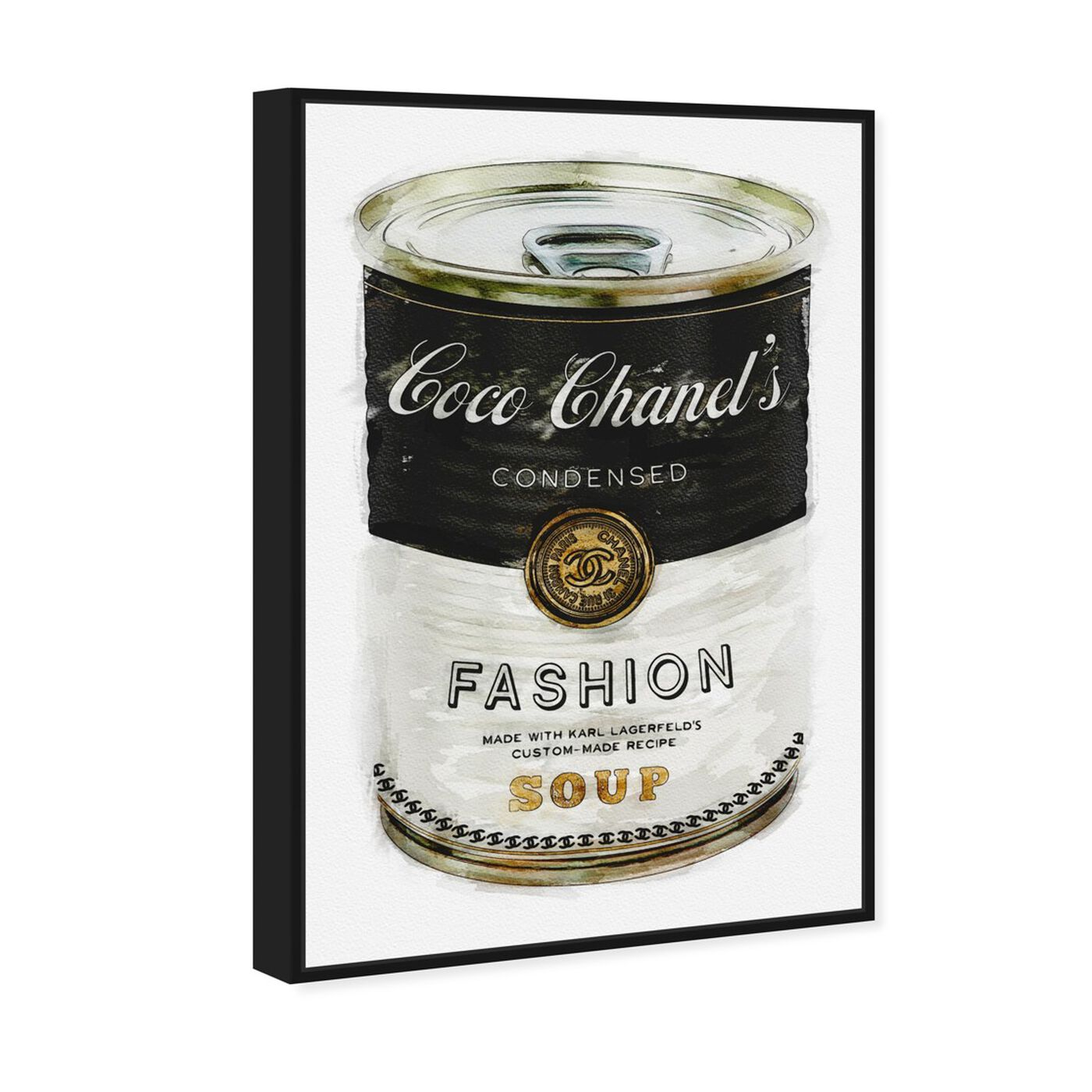 Angled view of Fashion Soup featuring fashion and glam and soup can art.