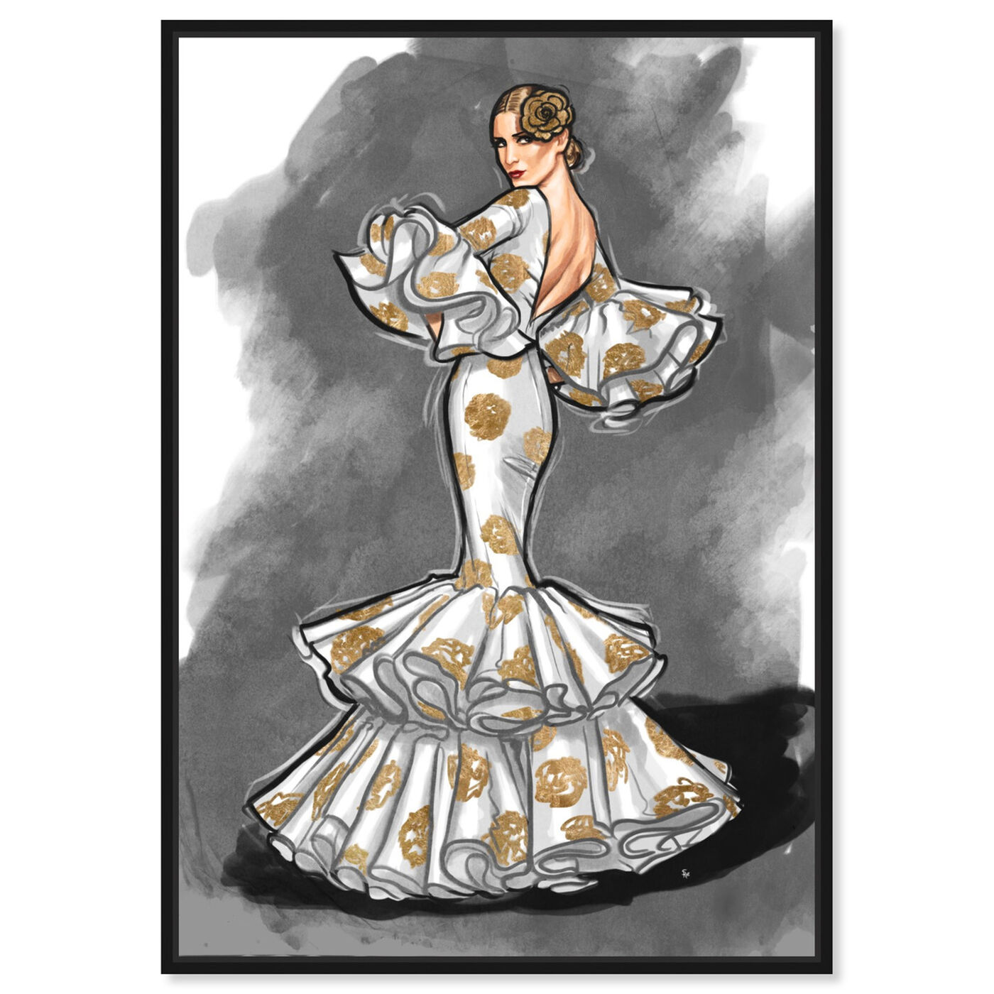 Front view of Flamenco Noir II featuring fashion and glam and dress art.
