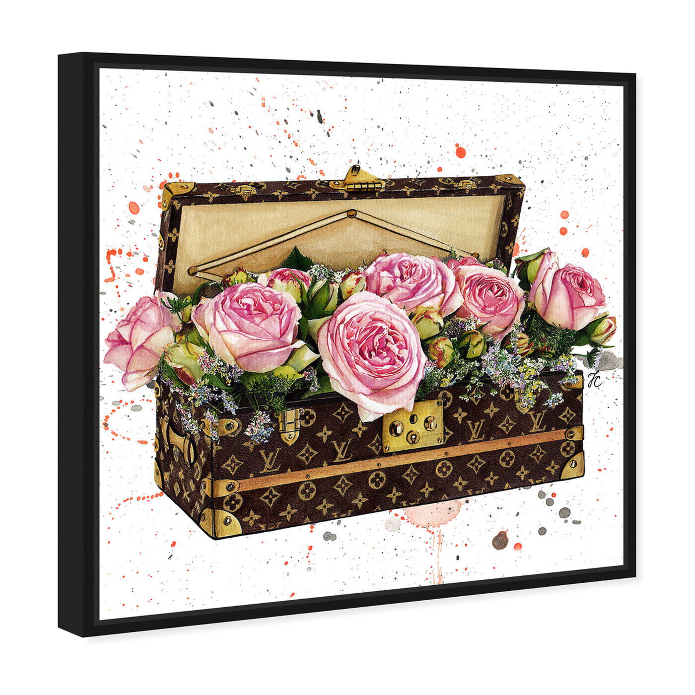 Angled view of Doll Memories - Trunk Full of Flowers featuring fashion and glam and travel essentials art.
