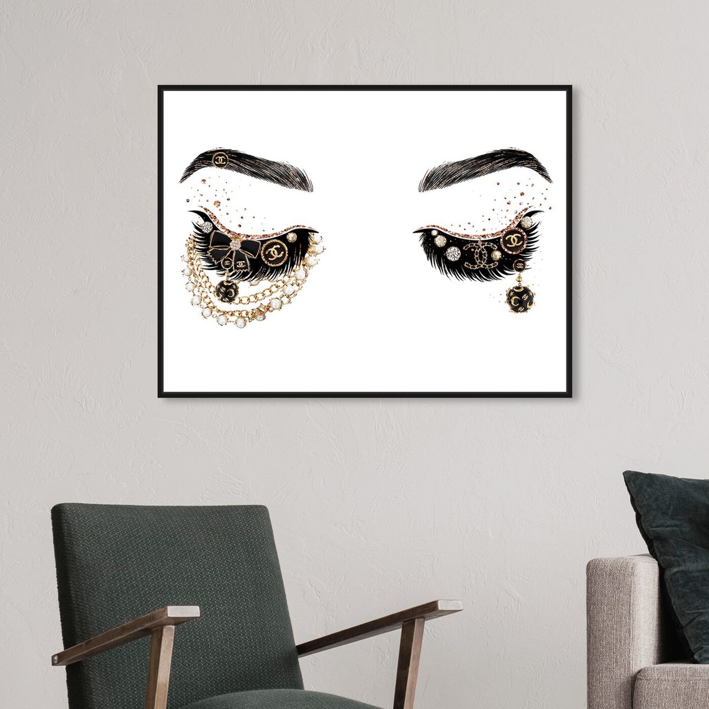 Hanging view of Pearls and Coco Eyes featuring fashion and glam and makeup art.