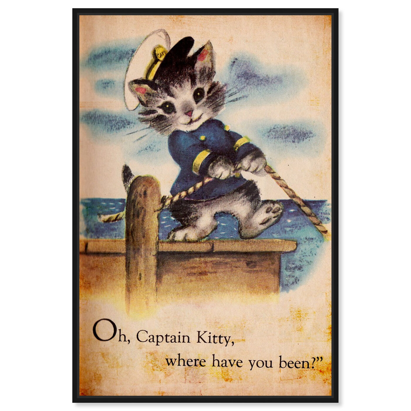 Front view of Captain Kitty featuring animals and cats and kitties art.