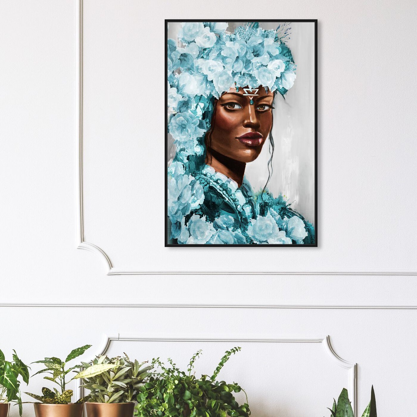 Hanging view of Flower Queen Teal featuring people and portraits and portraits art.