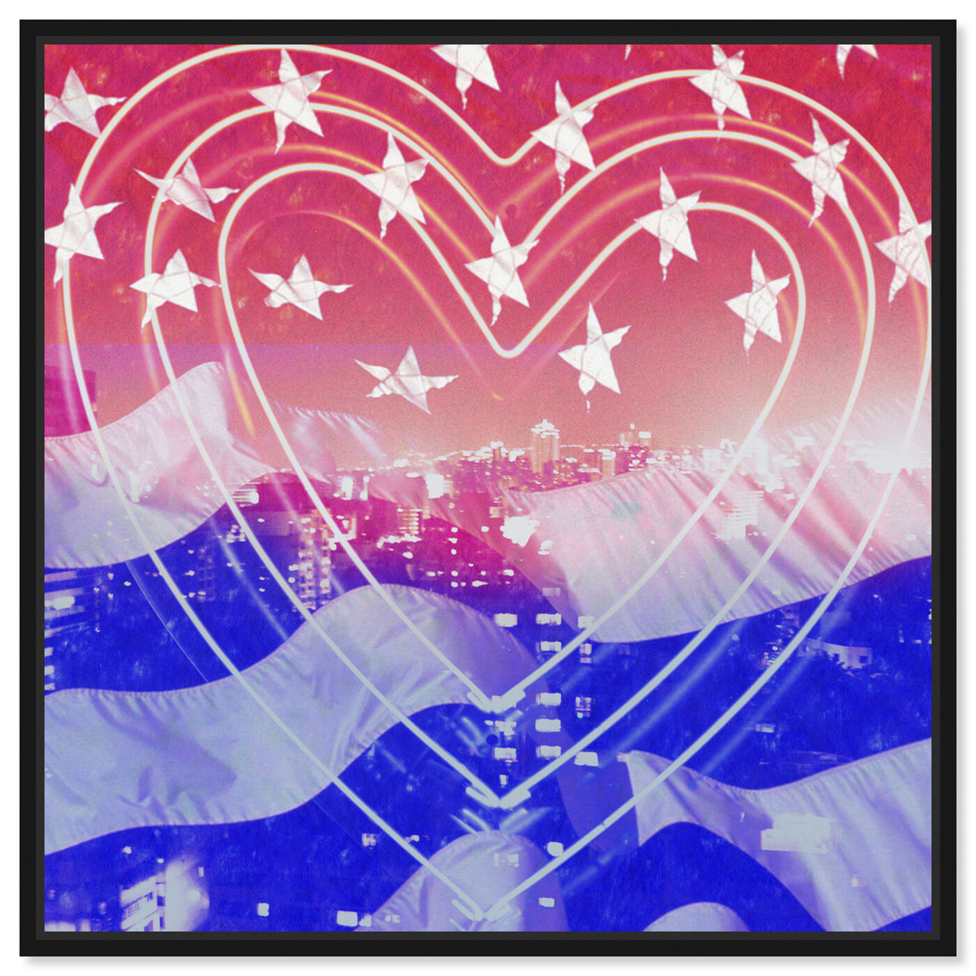 Front view of American Neon Heart featuring americana and patriotic and us flags art.