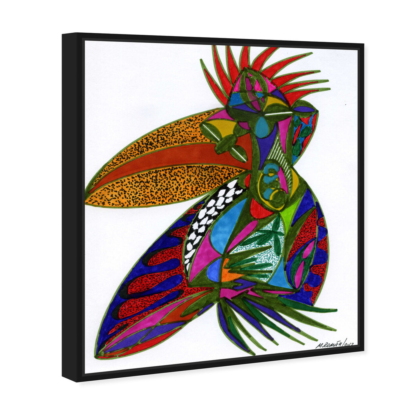 Angled view of Toucan featuring abstract and shapes art.
