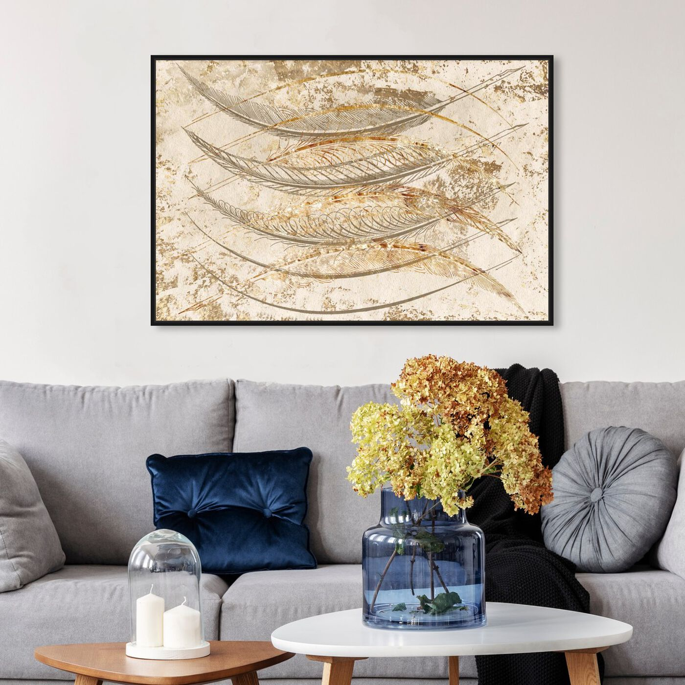 Hanging view of Gold Feathers featuring fashion and glam and feathers art.