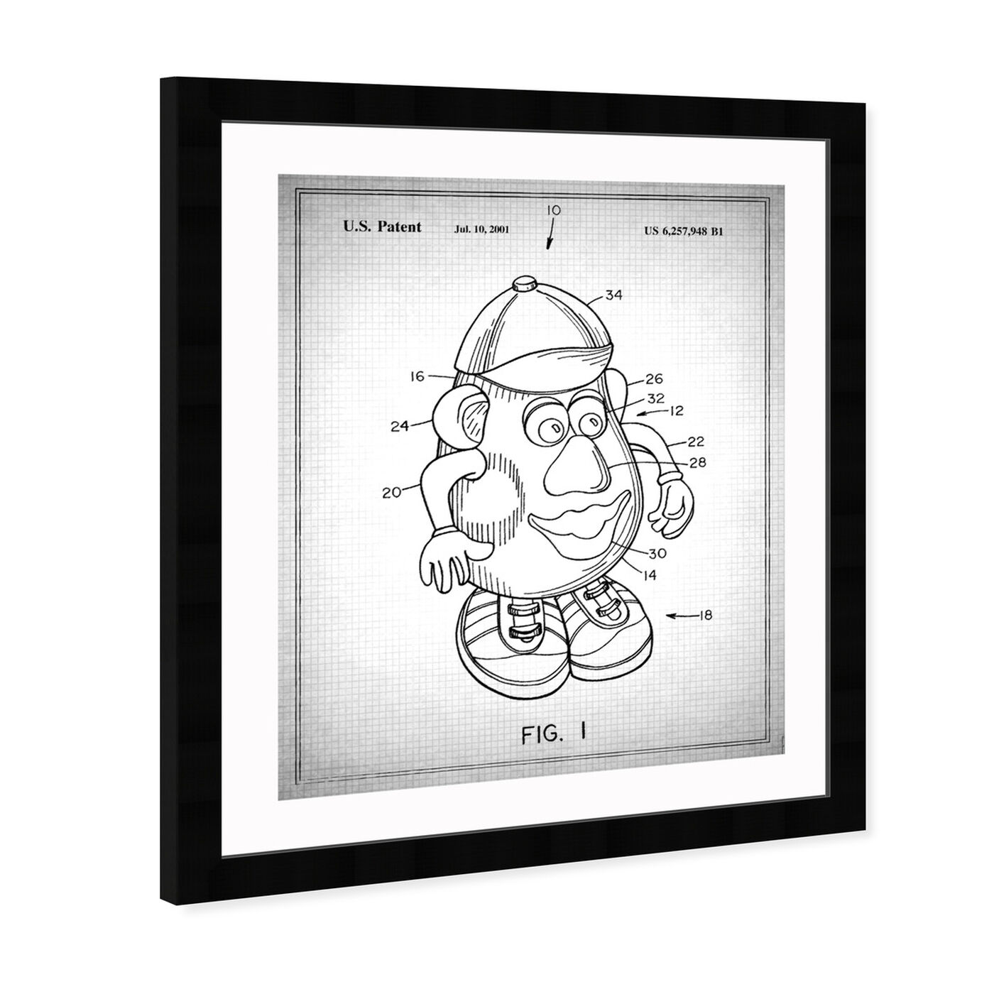 Angled view of Mr Potato 1980 Gray featuring symbols and objects and toys art.