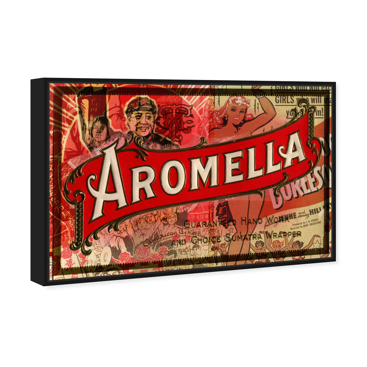 Angled view of Aromella featuring advertising and posters art.