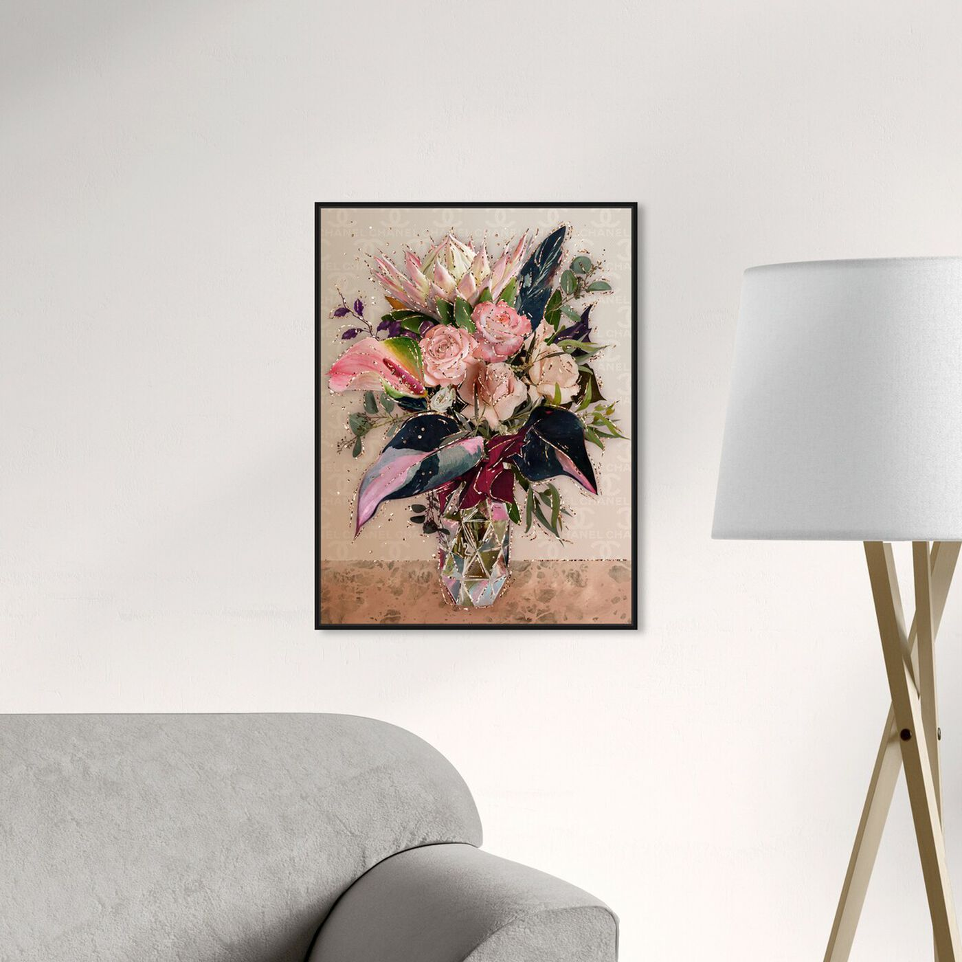 Hanging view of Warm Coco Bouquet featuring floral and botanical and florals art.