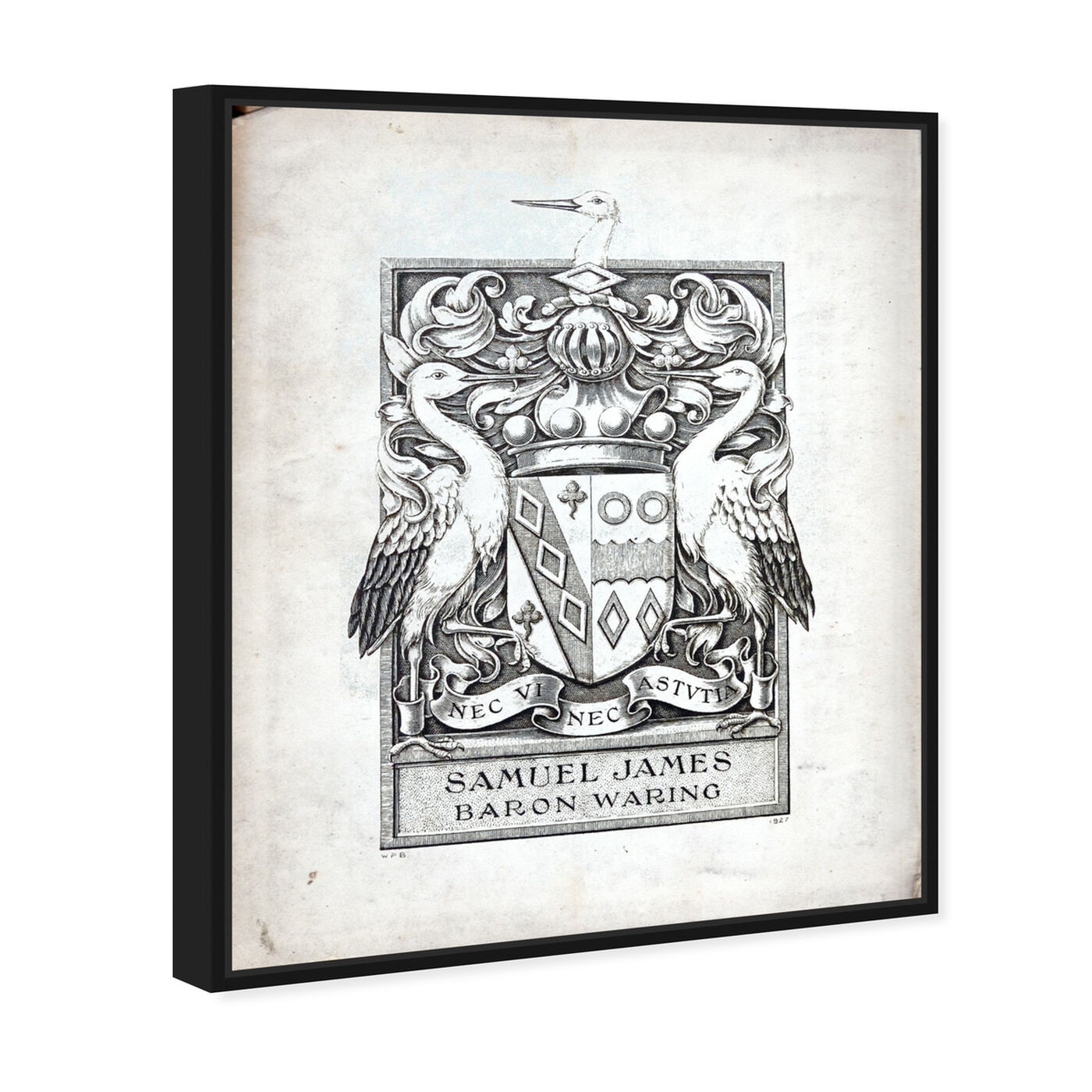 Angled view of Armorial Engravings III featuring symbols and objects and calligraphy art.