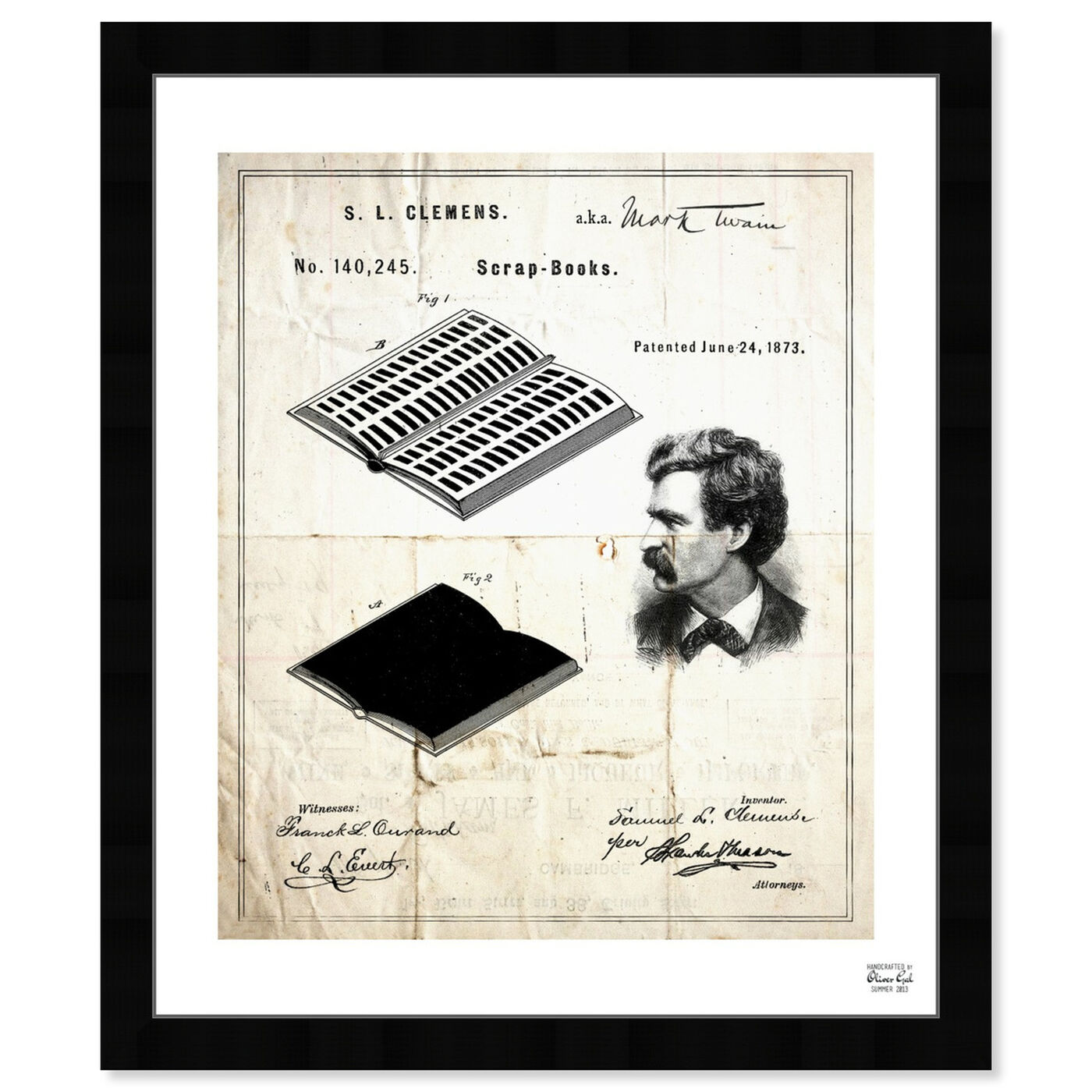 Front view of Mark Twain's Scrapbook 1873 featuring education and office and scientist art.
