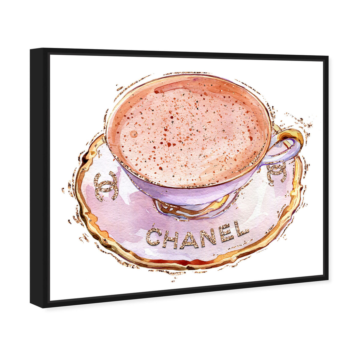 Angled view of White Glam Tea Cup featuring fashion and glam and fashion lifestyle art.