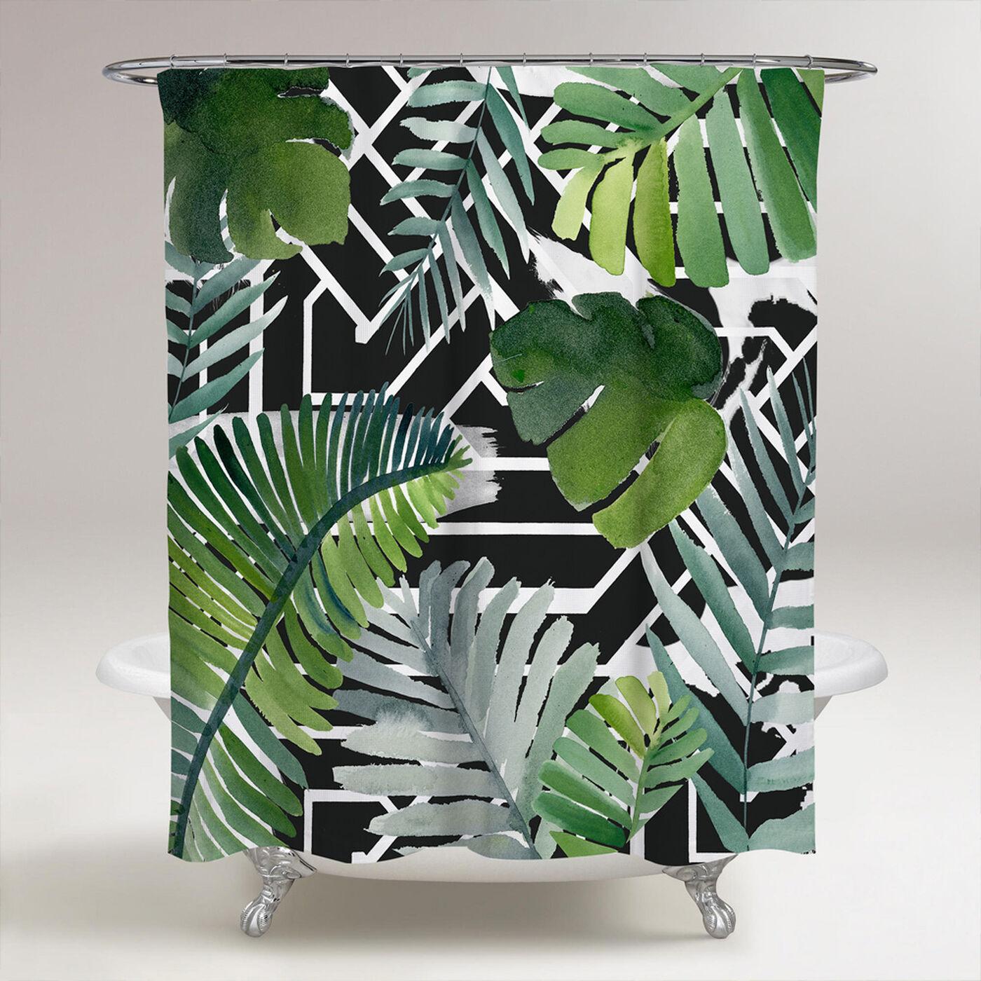 Introspect Palm Leaves Black Shower Curtain