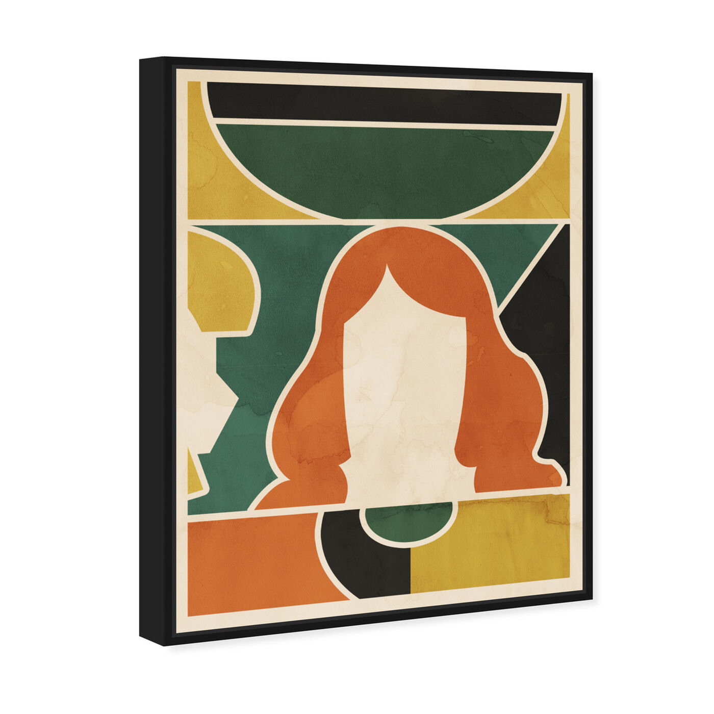 Angled view of Girl at the Window featuring abstract and geometric art.