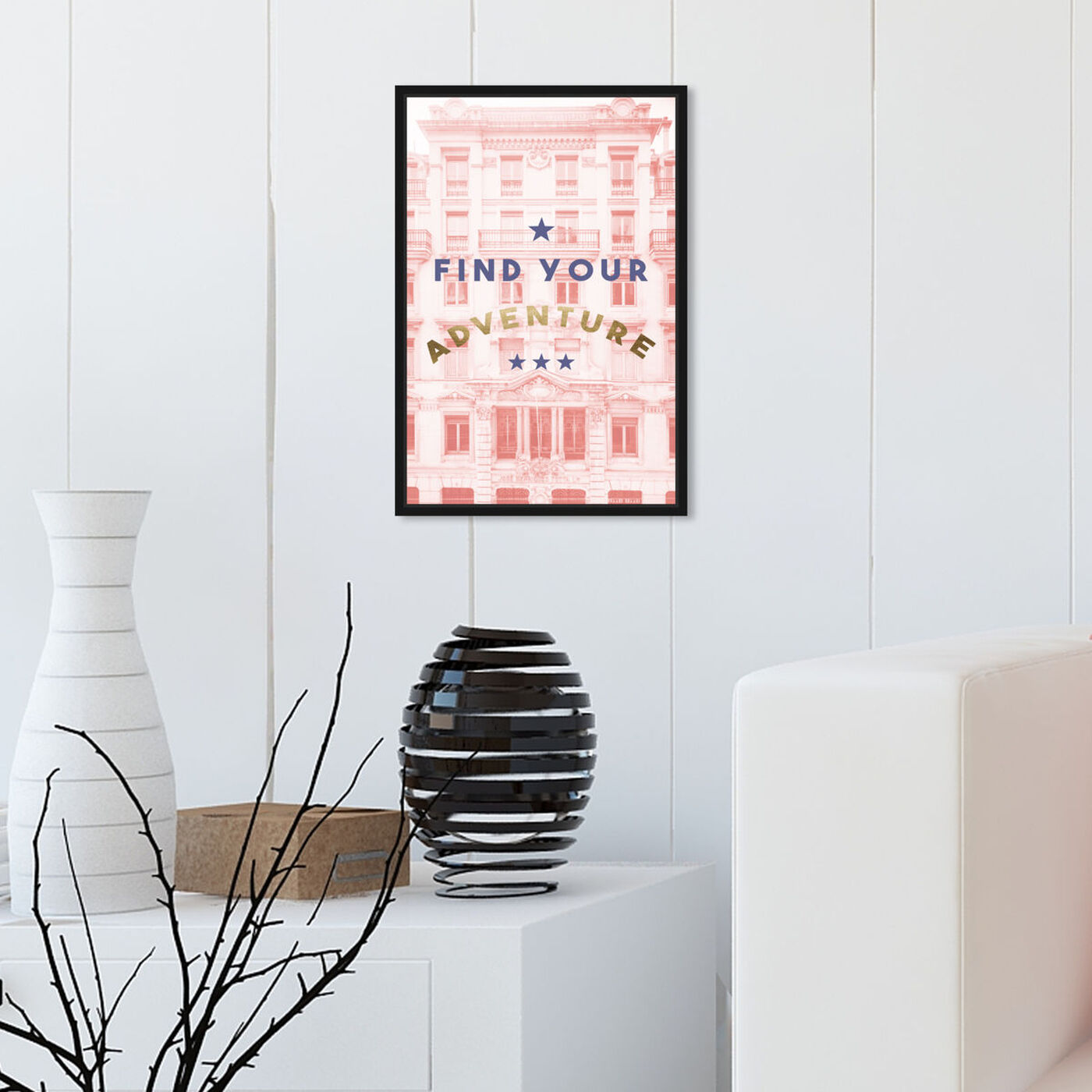 Hanging view of Find Your Adventure Blush featuring typography and quotes and motivational quotes and sayings art.