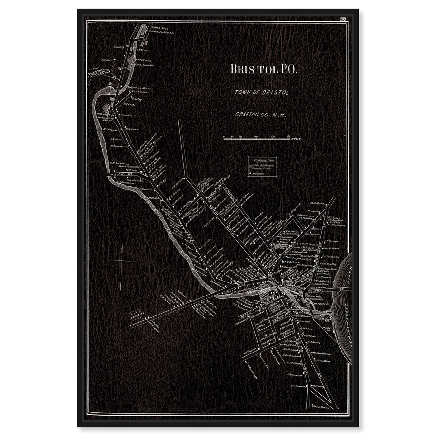 Front view of Bristol P.O. 1892 Map featuring maps and flags and european cities maps art.