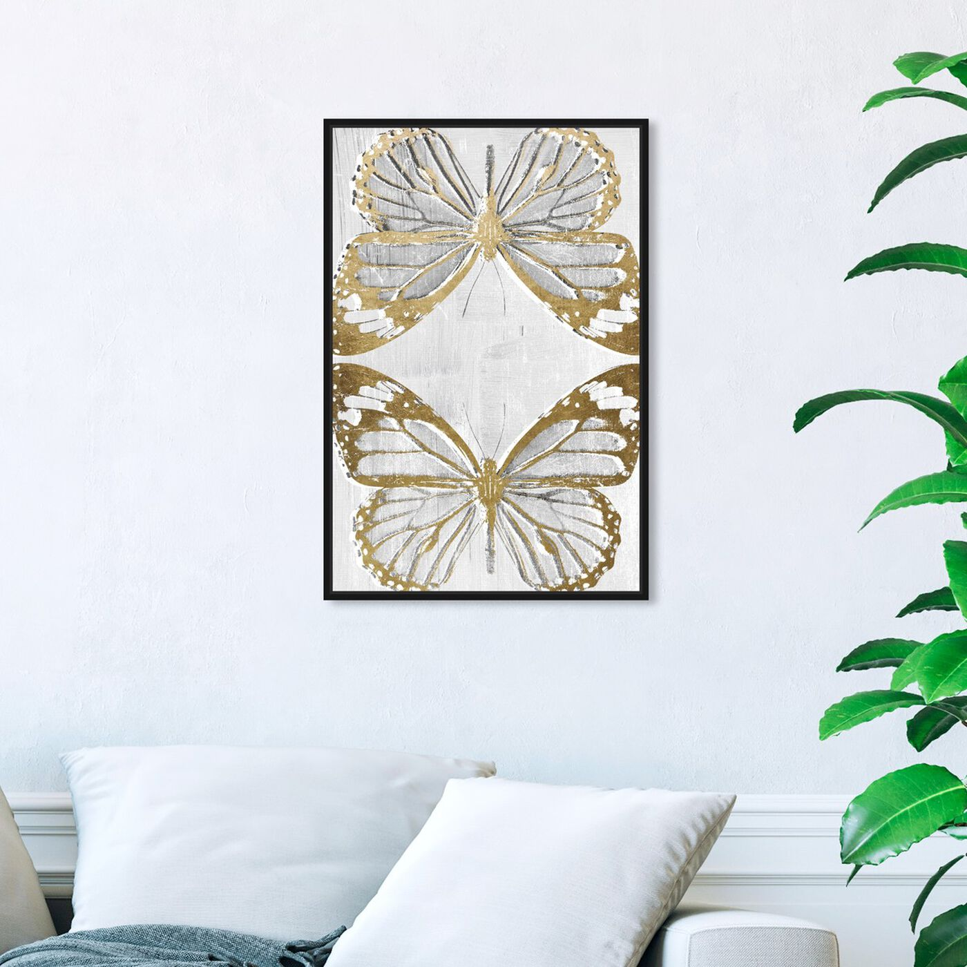 Hanging view of Golden Butterflies featuring animals and insects art.