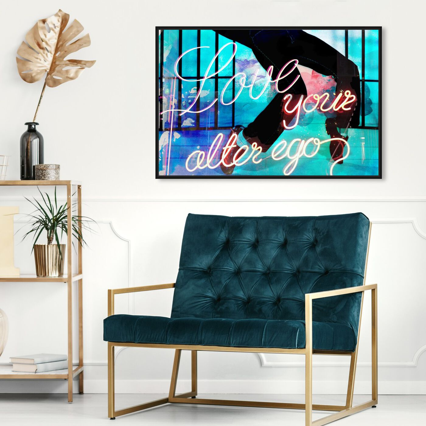 Hanging view of Love Your Alter Ego featuring typography and quotes and love quotes and sayings art.