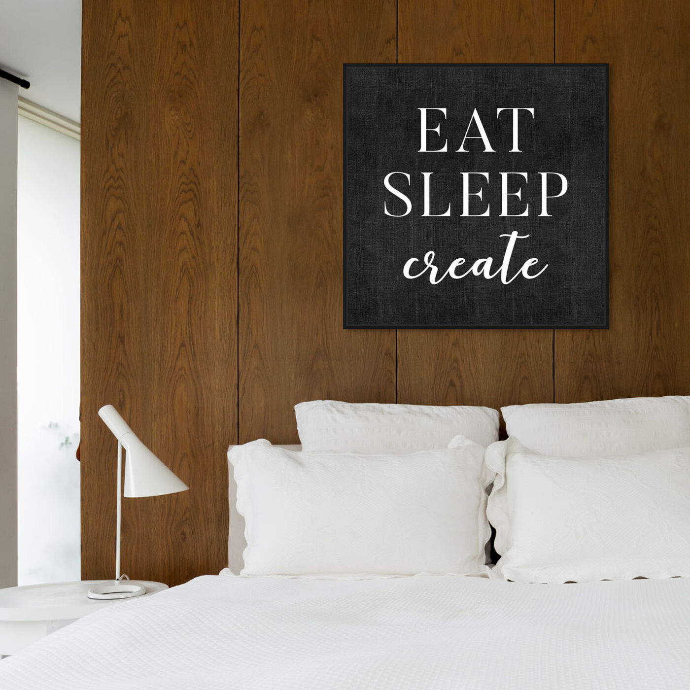 Hanging view of Eat Sleep Create featuring typography and quotes and motivational quotes and sayings art.