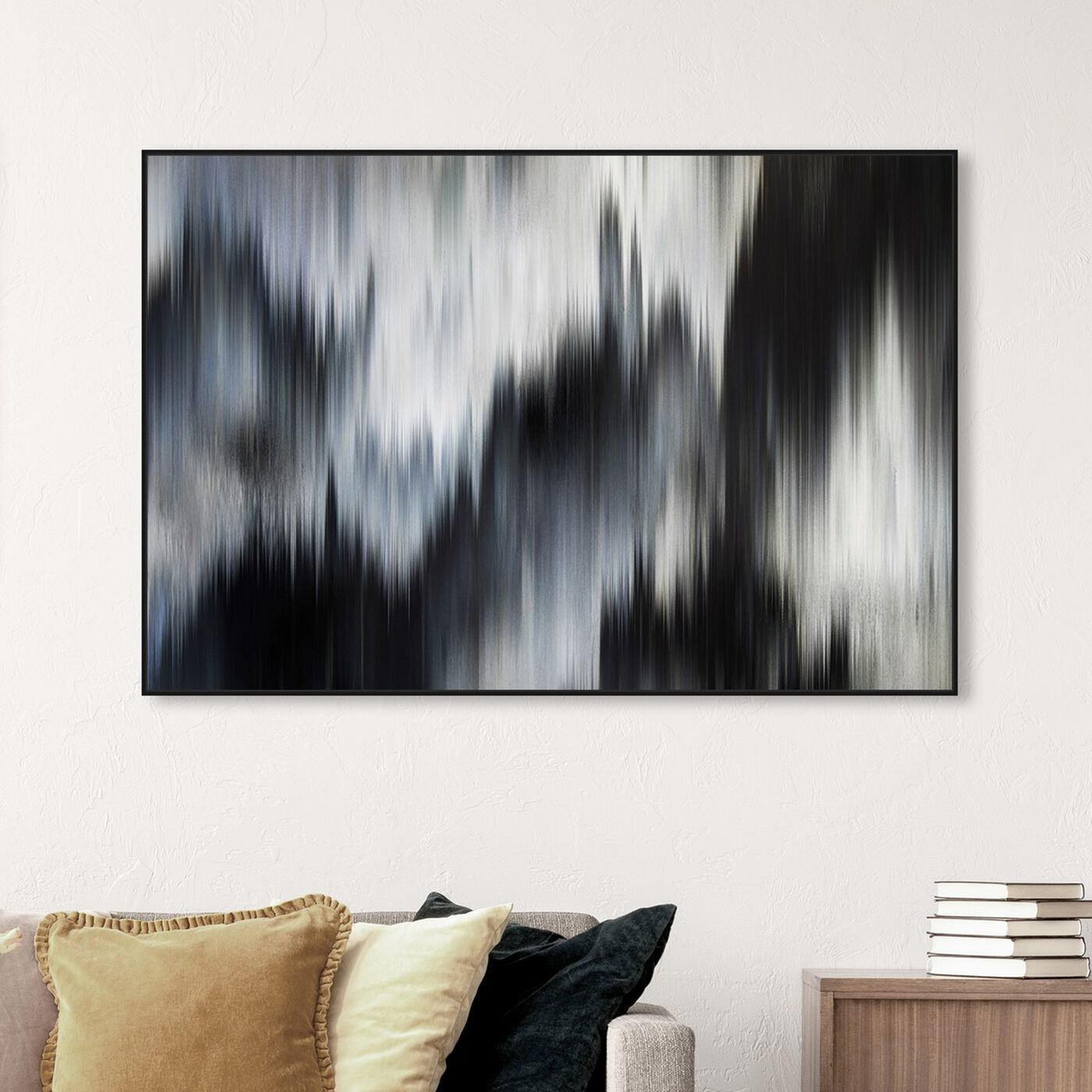 Hanging view of Eleganza Noir featuring abstract and paint art.