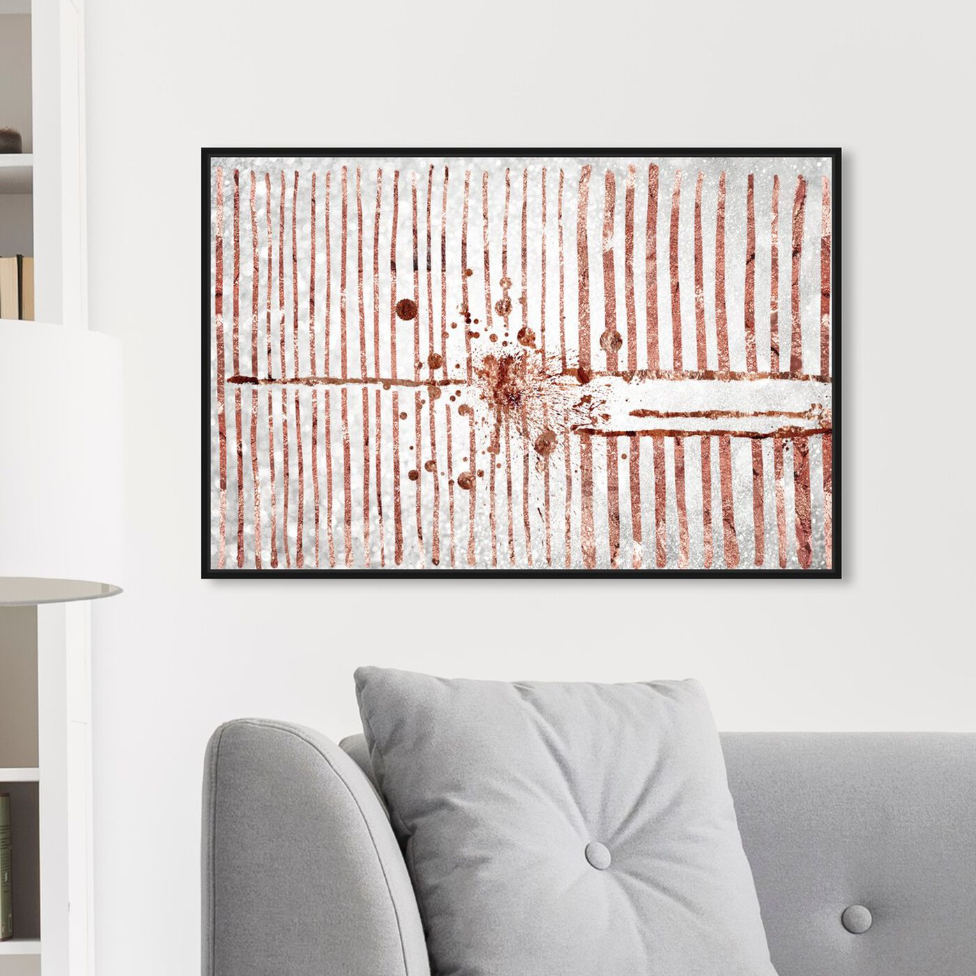 Hanging view of Love Force Field Rose Gold featuring abstract and shapes art.