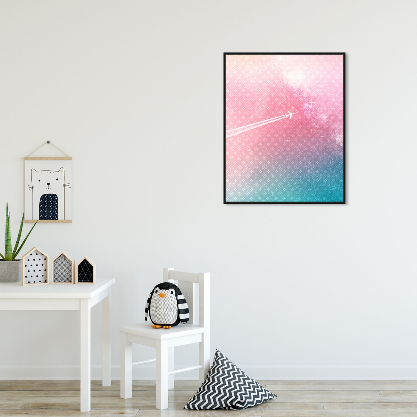 Hanging view of Glam Away featuring fashion and glam and travel essentials art.
