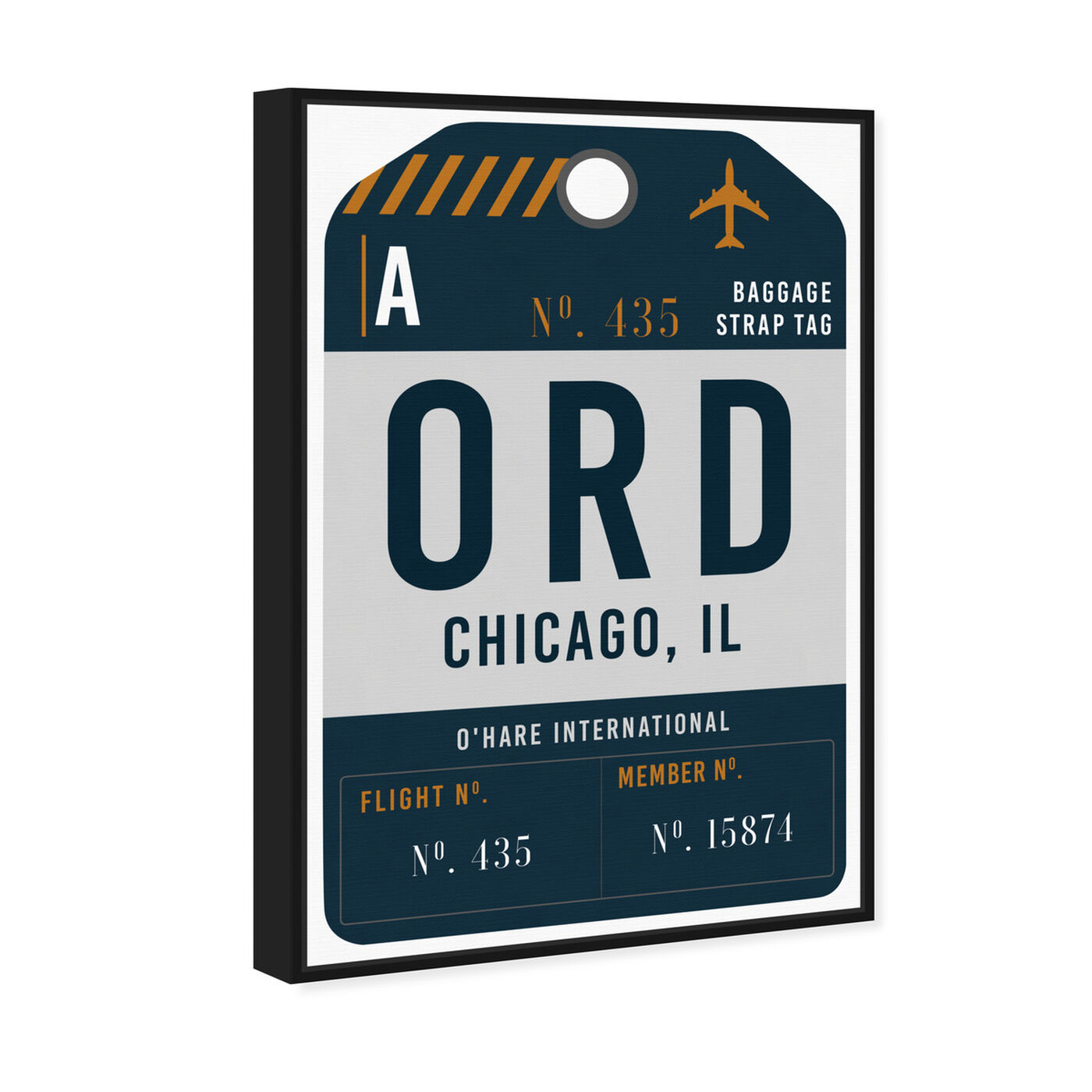 Angled view of Chicago Luggage Tag featuring cities and skylines and united states cities art.