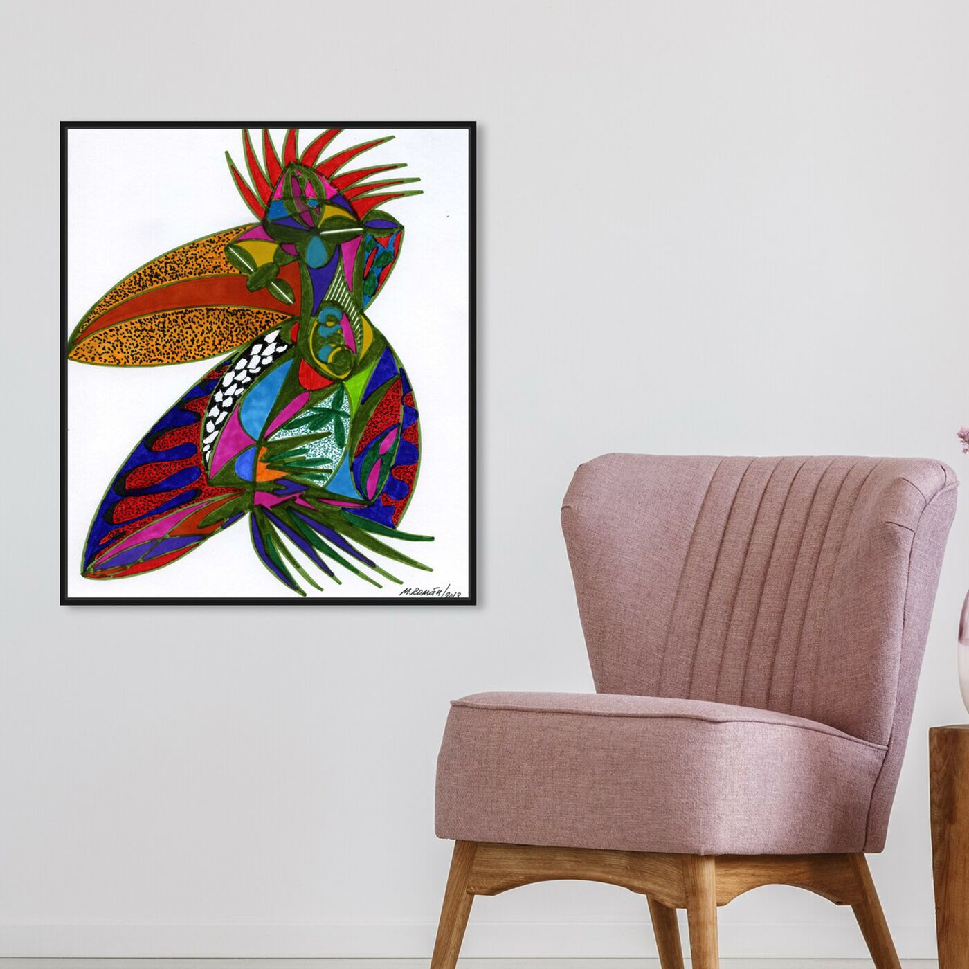 Hanging view of Toucan featuring abstract and shapes art.