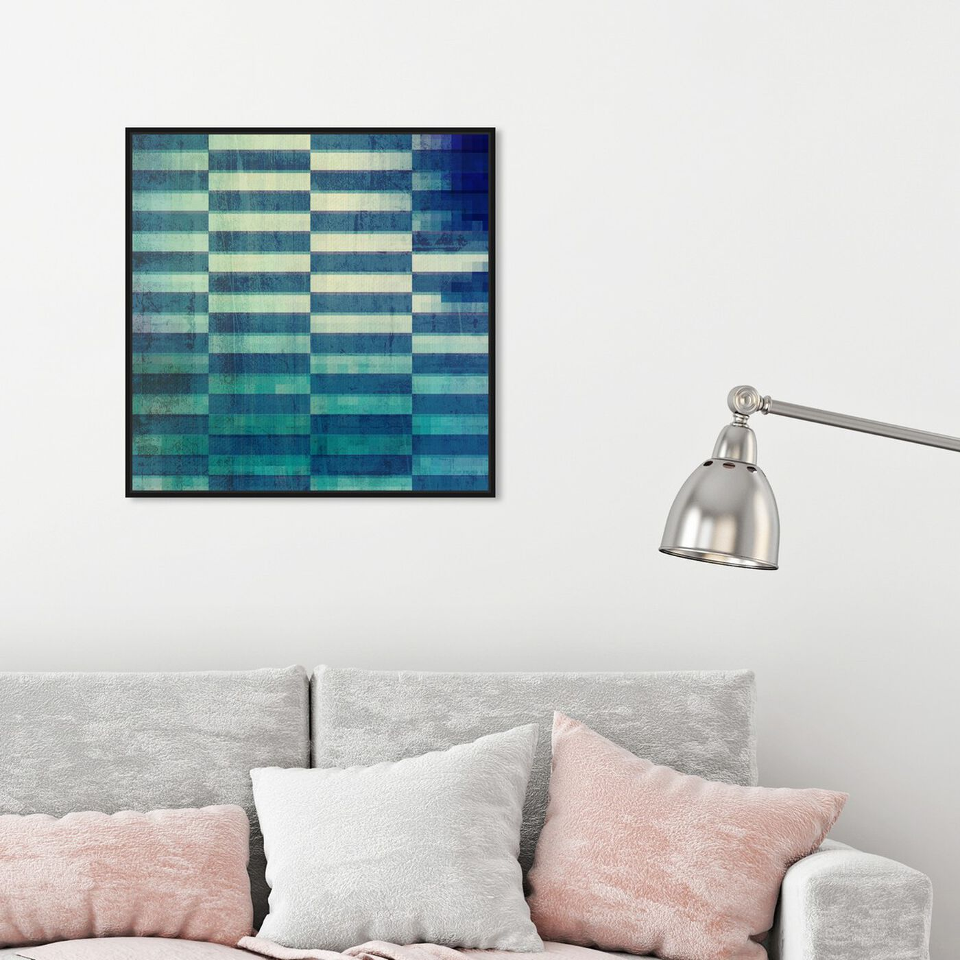 Hanging view of Exit Strategy featuring abstract and shapes art.