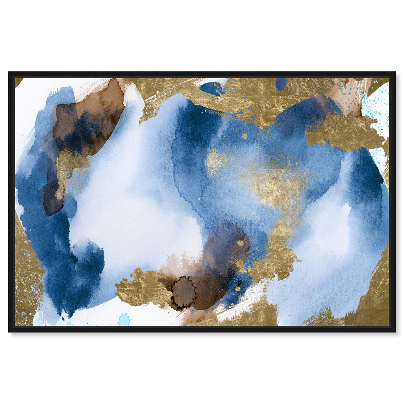 Front view of Blue In Gold featuring abstract and watercolor art.
