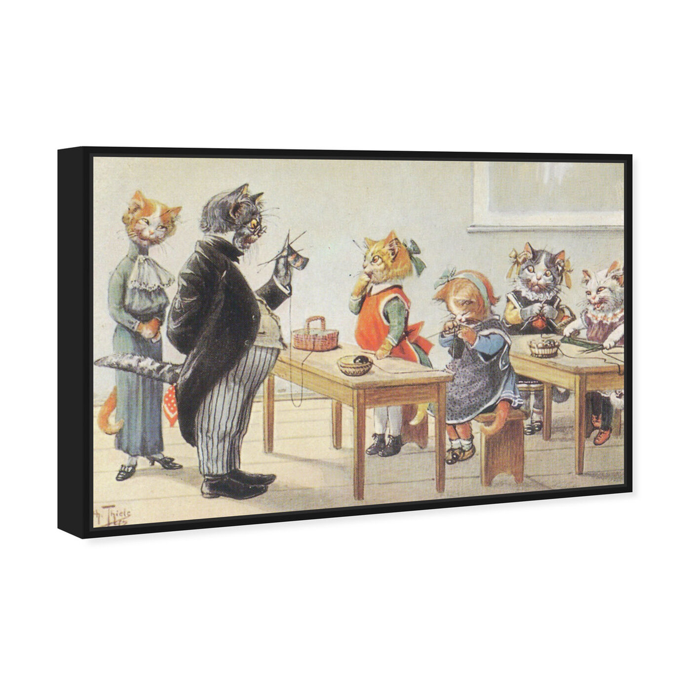 Angled view of Kittens in the Classroom featuring animals and cats and kitties art.